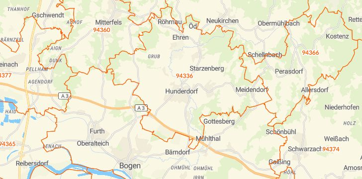 Straßenkarte mit Hausnummern Hunderdorf