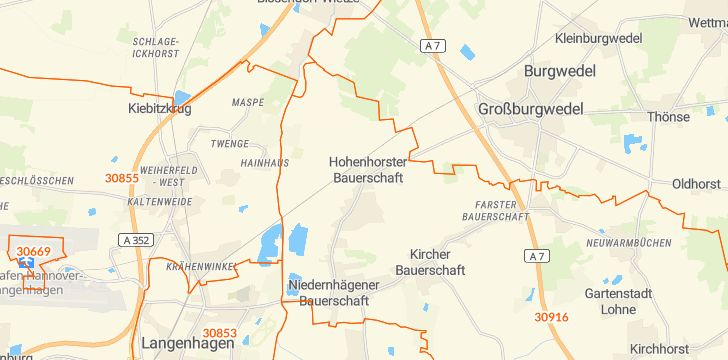 Straßenkarte mit Hausnummern Isernhagen