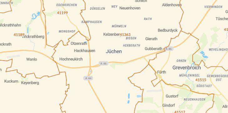Straßenkarte mit Hausnummern Jüchen