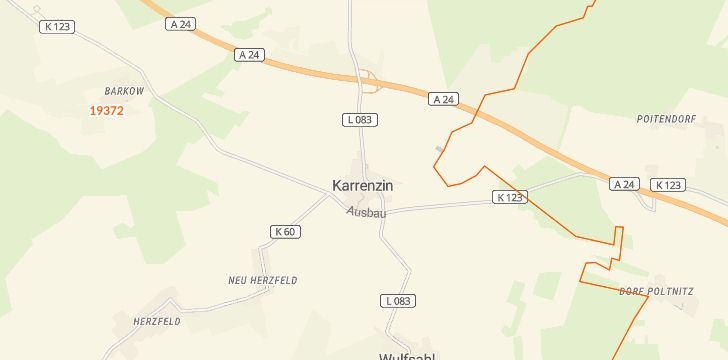 Straßenkarte mit Hausnummern Karrenzin