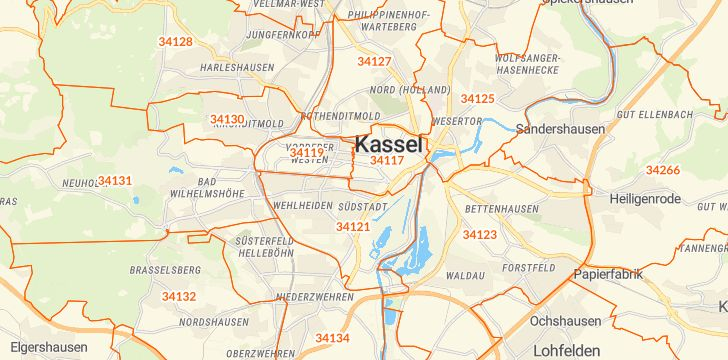 Straßenkarte mit Hausnummern Kassel