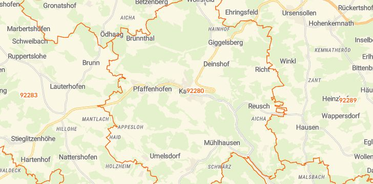 Straßenkarte mit Hausnummern Kastl (Lauterachtal)