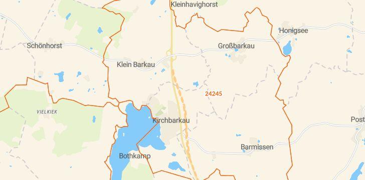 Straßenkarte mit Hausnummern Kirchbarkau