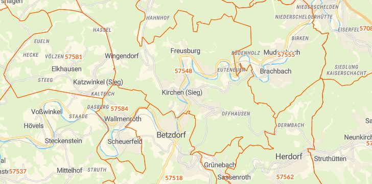Straßenkarte mit Hausnummern Kirchen (Sieg)