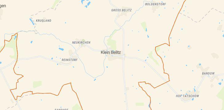 Straßenkarte mit Hausnummern Klein Belitz