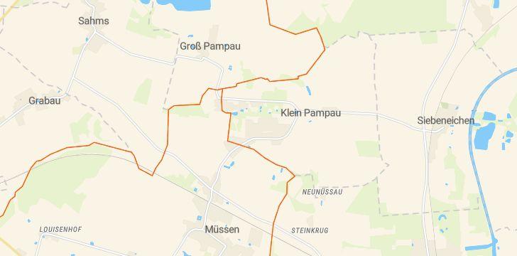 Straßenkarte mit Hausnummern Klein Pampau