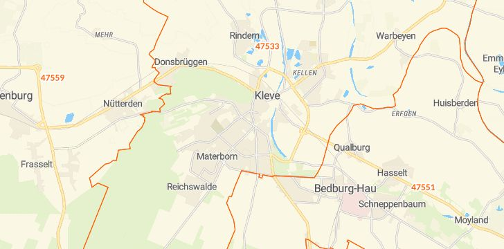 Straßenkarte mit Hausnummern Kleve