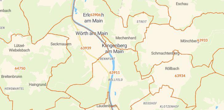 Straßenkarte mit Hausnummern Klingenberg am Main