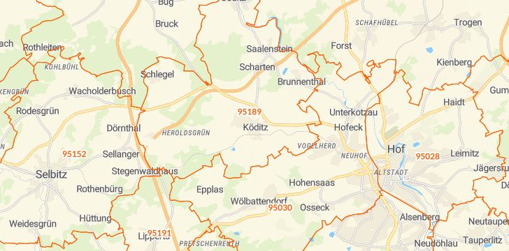 Straßenkarte mit Hausnummern Köditz