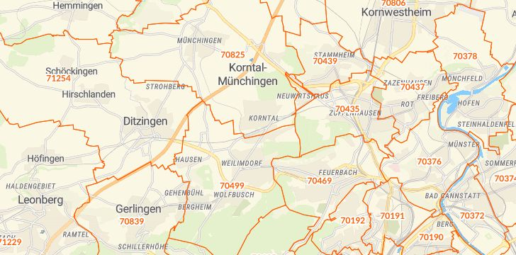 Straßenkarte mit Hausnummern Korntal-Münchingen