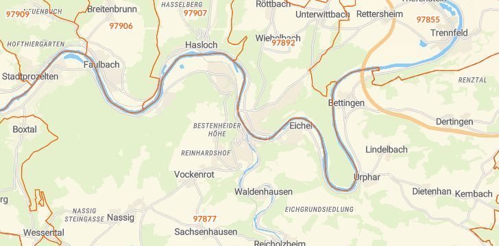 Straßenkarte mit Hausnummern Kreuzwertheim