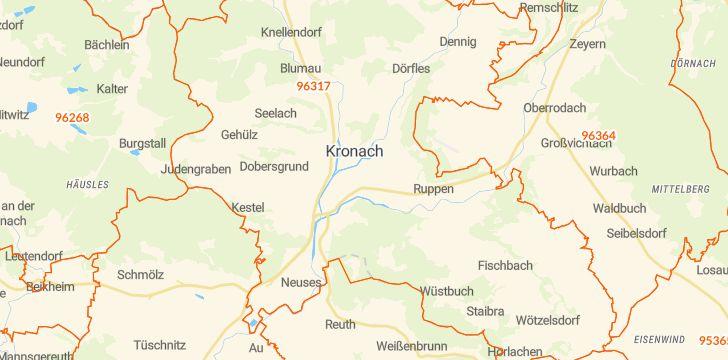 Straßenkarte mit Hausnummern Kronach