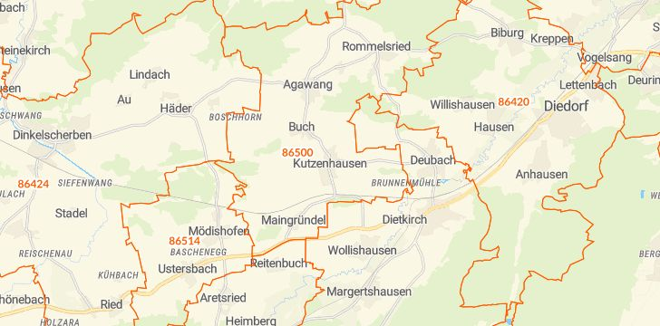 Straßenkarte mit Hausnummern Kutzenhausen