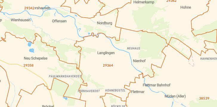 Straßenkarte mit Hausnummern Langlingen