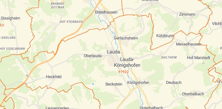 Straßenkarte mit Hausnummern Lauda-Königshofen