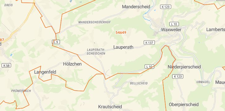 Straßenkarte mit Hausnummern Lauperath