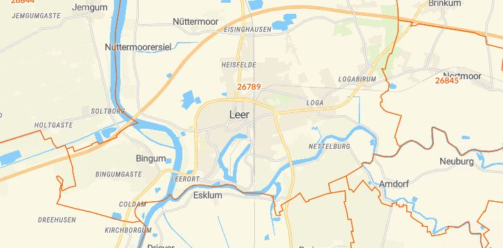 Straßenkarte mit Hausnummern Leer (Ostfriesland)