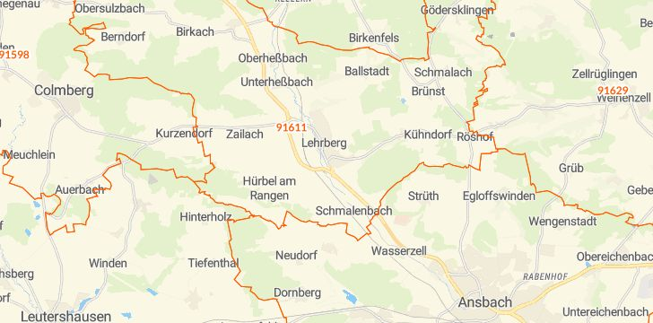 Straßenkarte mit Hausnummern Lehrberg