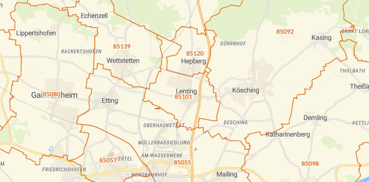 Straßenkarte mit Hausnummern Lenting