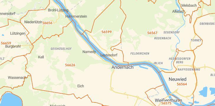 Straßenkarte mit Hausnummern Leutesdorf