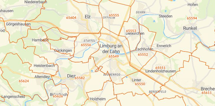 Straßenkarte mit Hausnummern Limburg an der Lahn