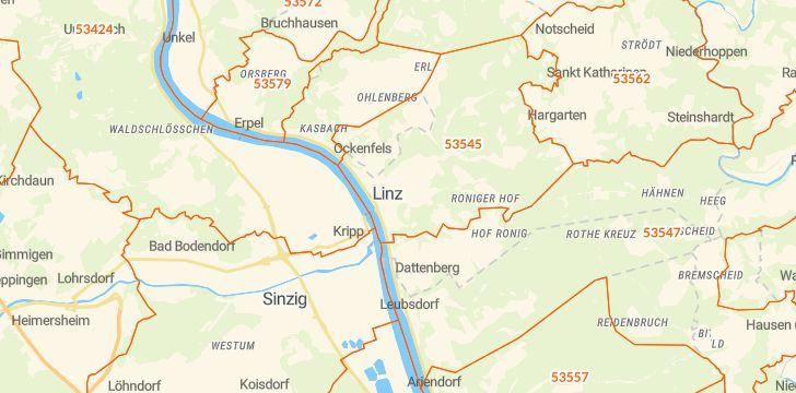 Straßenkarte mit Hausnummern Linz am Rhein