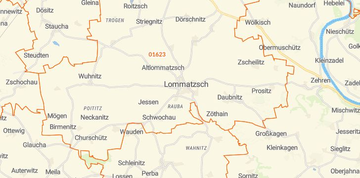 Straßenkarte mit Hausnummern Lommatzsch