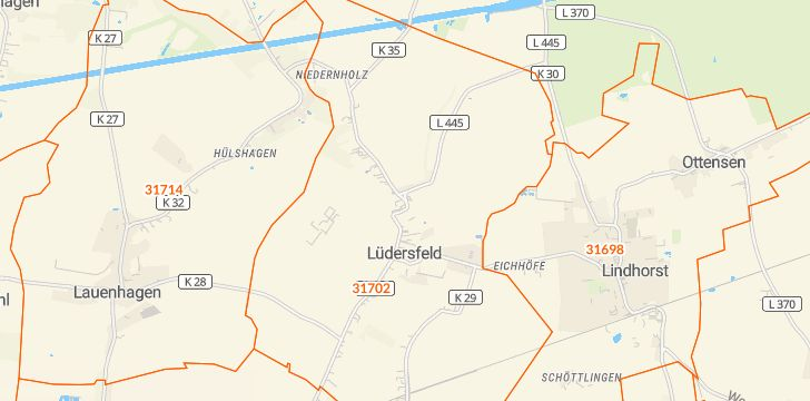 Straßenkarte mit Hausnummern Lüdersfeld