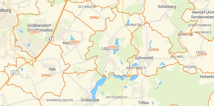 Straßenkarte mit Hausnummern Lütjensee