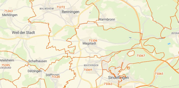 Straßenkarte mit Hausnummern Magstadt
