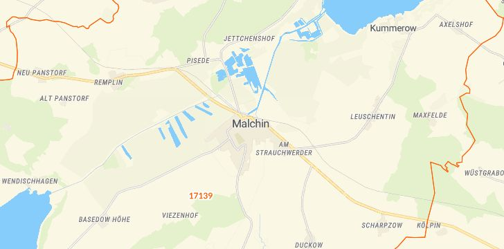 Straßenkarte mit Hausnummern Malchin