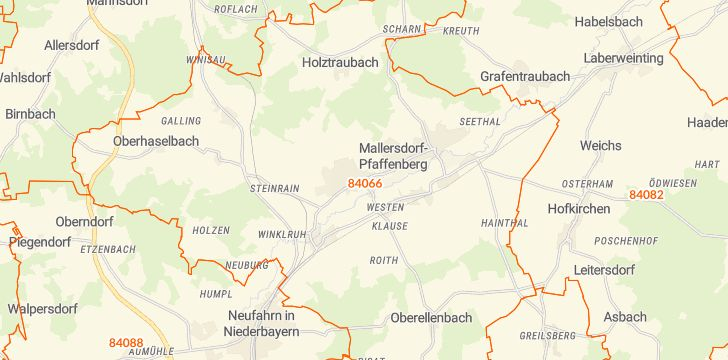 Straßenkarte mit Hausnummern Mallersdorf-Pfaffenberg