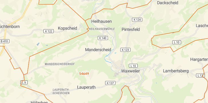Straßenkarte mit Hausnummern Manderscheid bei Waxweiler