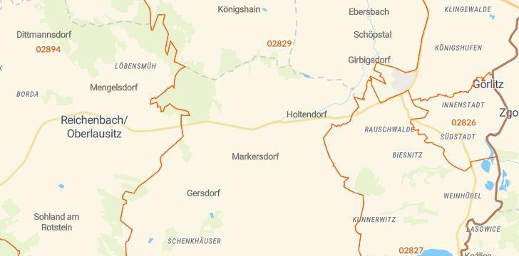 Straßenkarte mit Hausnummern Markersdorf (Sachsen)