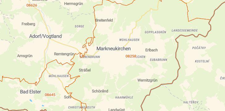 Straßenkarte mit Hausnummern Markneukirchen