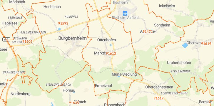 Straßenkarte mit Hausnummern Marktbergel