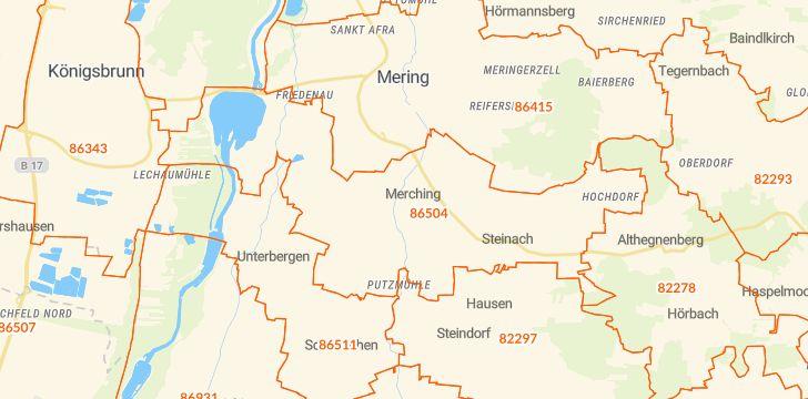 Straßenkarte mit Hausnummern Merching