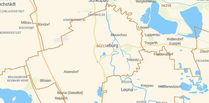 Straßenkarte mit Hausnummern Merseburg