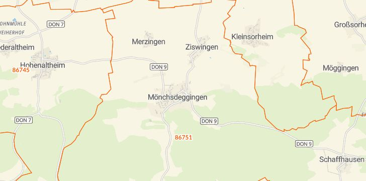Straßenkarte mit Hausnummern Mönchsdeggingen