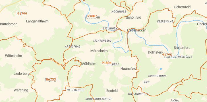 Straßenkarte mit Hausnummern Mörnsheim
