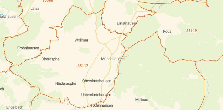Straßenkarte mit Hausnummern Münchhausen am Christenberg
