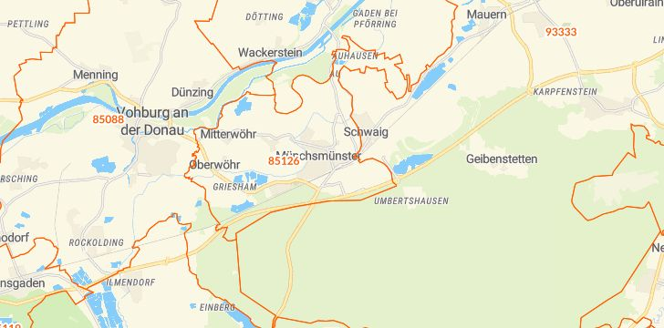Straßenkarte mit Hausnummern Münchsmünster