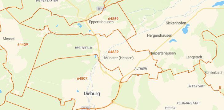 Straßenkarte mit Hausnummern Münster bei Dieburg