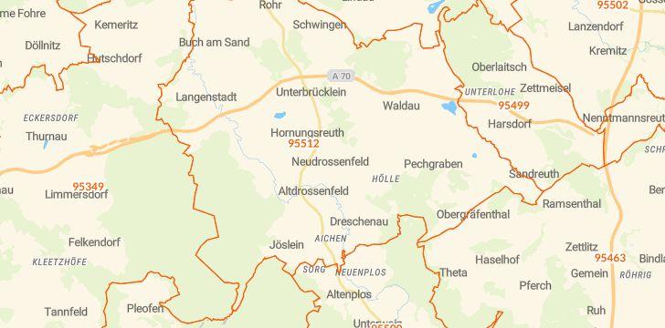 Straßenkarte mit Hausnummern Neudrossenfeld