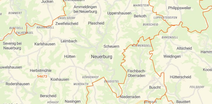Straßenkarte mit Hausnummern Neuerburg