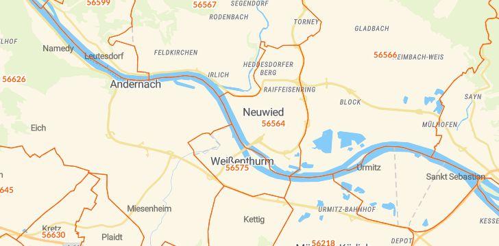 Straßenkarte mit Hausnummern Neuwied