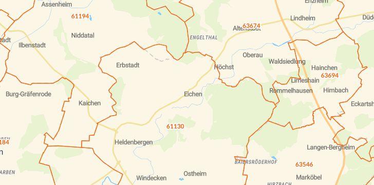 Straßenkarte mit Hausnummern Nidderau