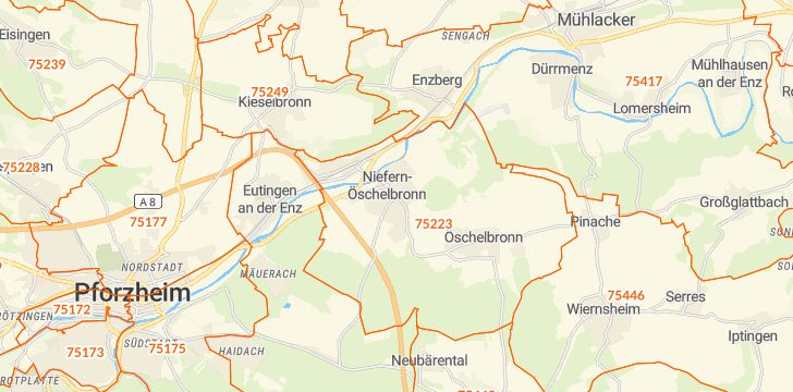 Straßenkarte mit Hausnummern Niefern-Öschelbronn
