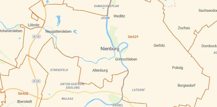 Straßenkarte mit Hausnummern Nienburg (Saale)