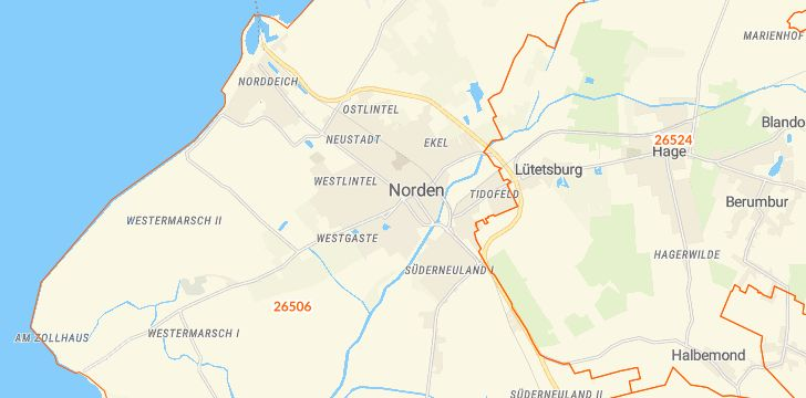 Straßenkarte mit Hausnummern Norden